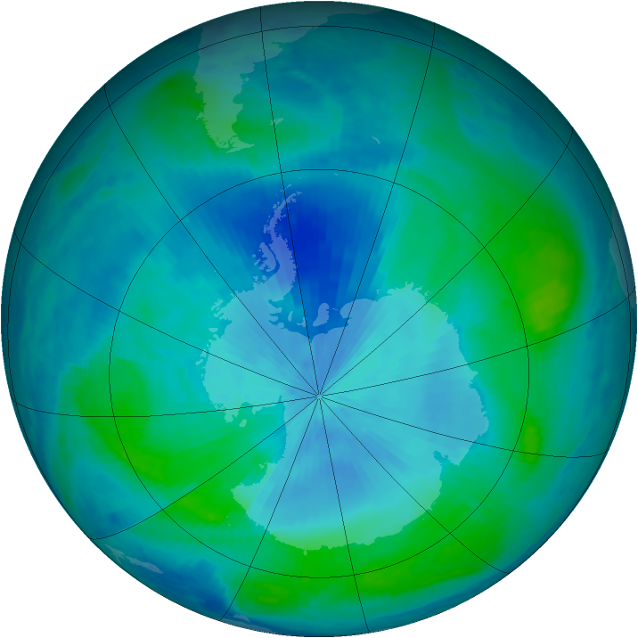 Antarctic ozone map for 26 February 2000