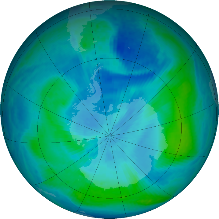 Antarctic ozone map for 28 February 2000