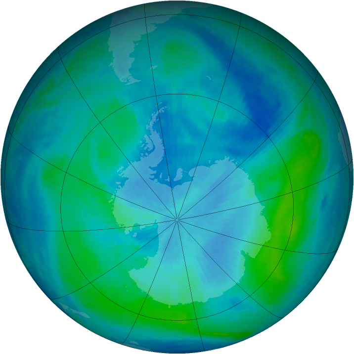 Antarctic ozone map for 29 February 2000