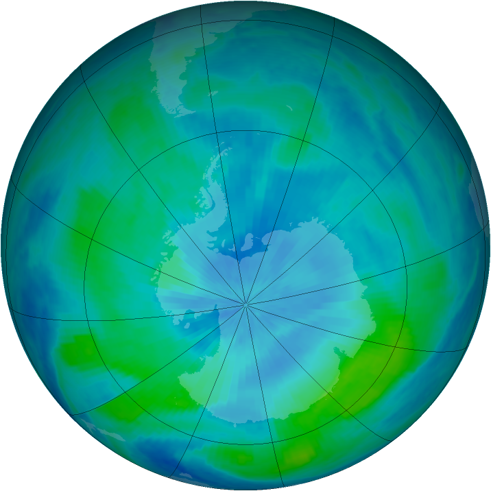 Antarctic ozone map for 02 March 2000