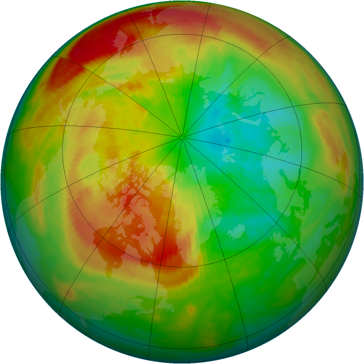 Arctic ozone map for 11 March 2000
