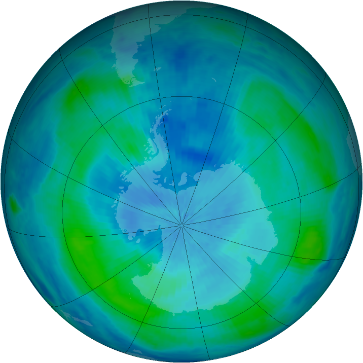 Antarctic ozone map for 11 March 2000