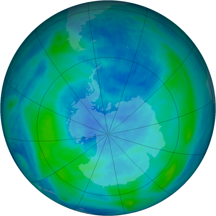 Antarctic ozone map for 12 March 2000