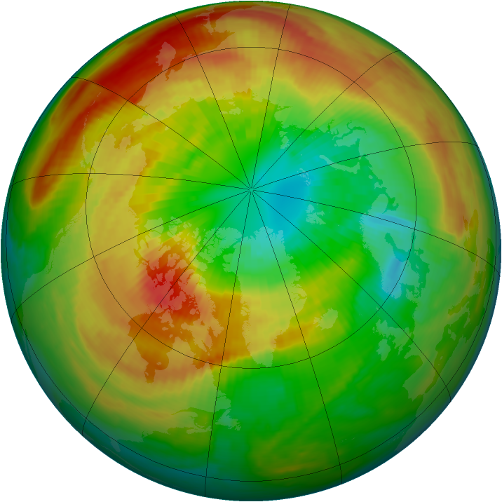 Arctic ozone map for 13 March 2000