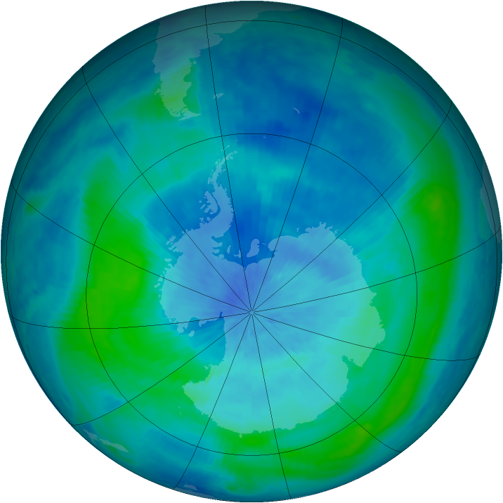 Antarctic ozone map for 13 March 2000