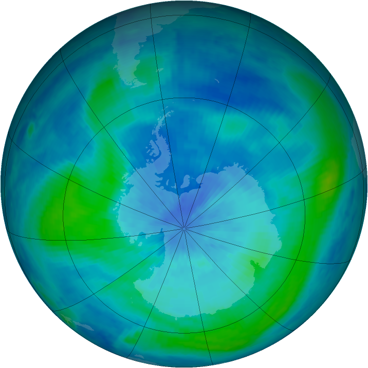 Antarctic ozone map for 14 March 2000
