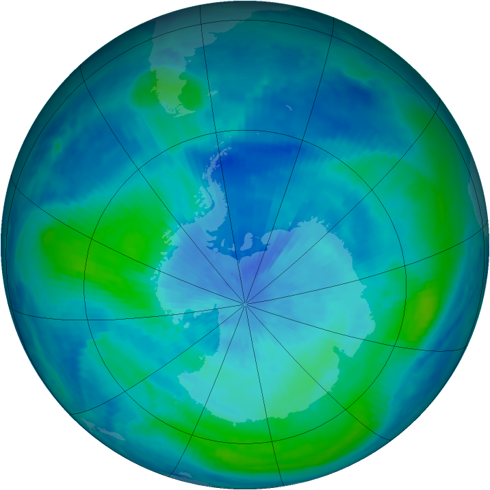 Antarctic ozone map for 15 March 2000