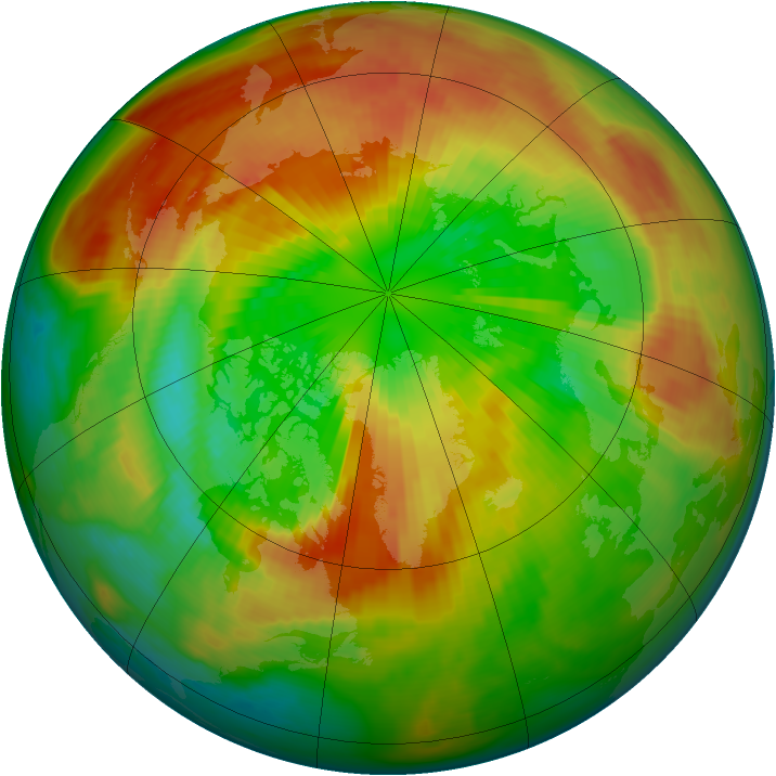 Arctic ozone map for 17 March 2000