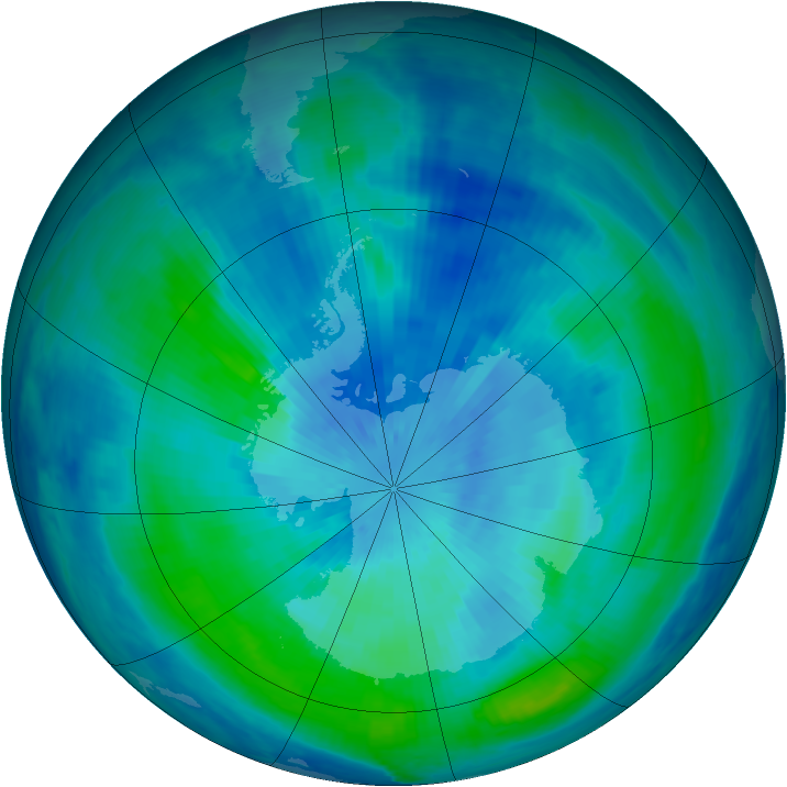 Antarctic ozone map for 17 March 2000