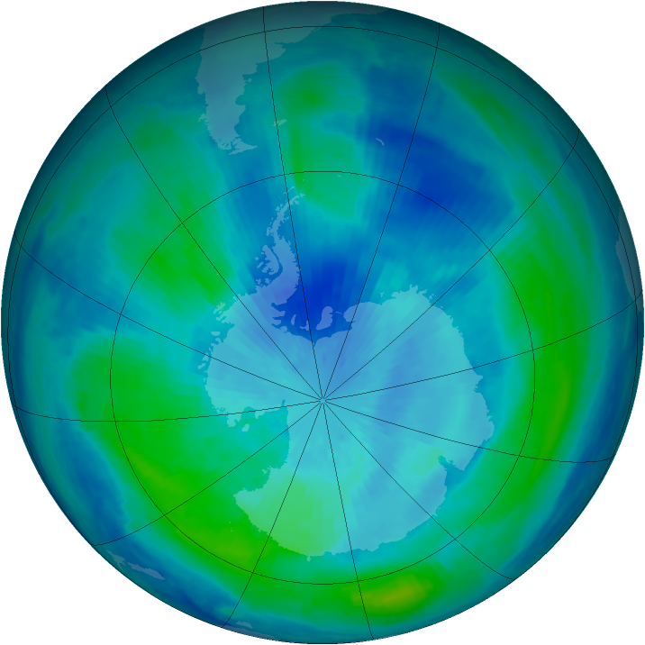 Antarctic ozone map for 18 March 2000