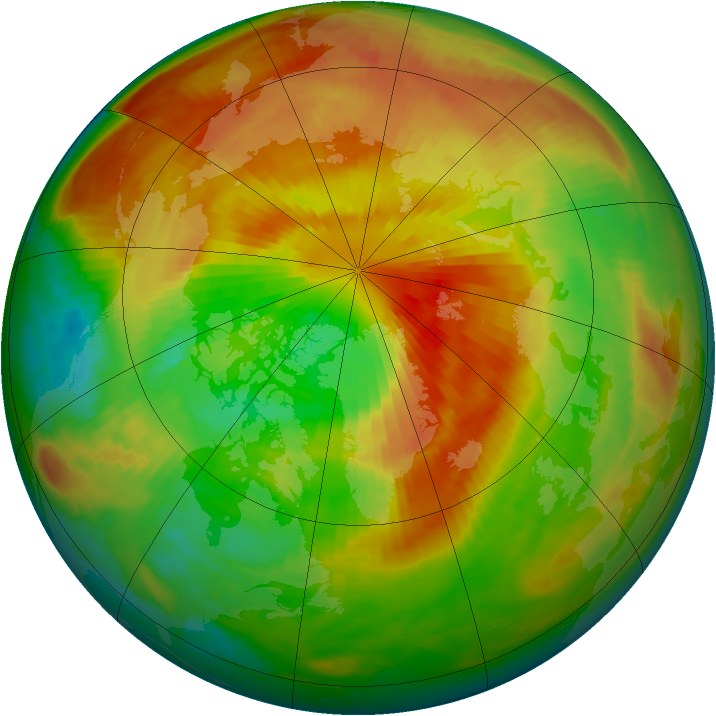 Arctic ozone map for 20 March 2000