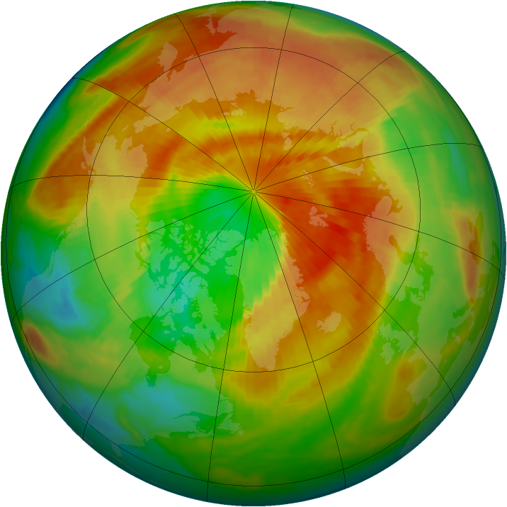 Arctic ozone map for 21 March 2000