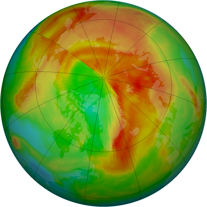 Arctic ozone map for 22 March 2000