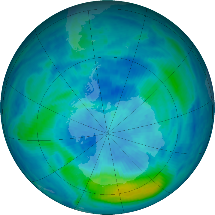 Antarctic ozone map for 23 March 2000