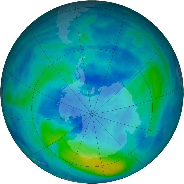 Antarctic ozone map for 24 March 2000