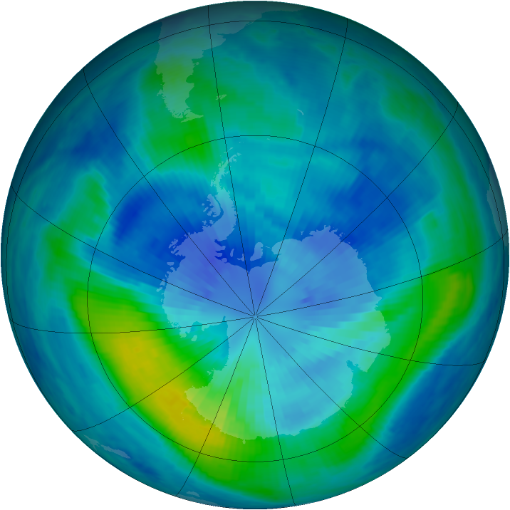Antarctic ozone map for 26 March 2000