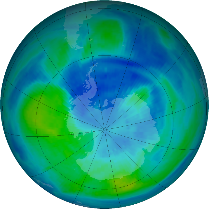 Antarctic ozone map for 29 March 2000