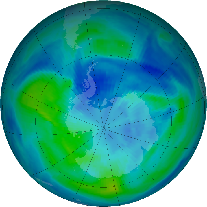 Antarctic ozone map for 30 March 2000