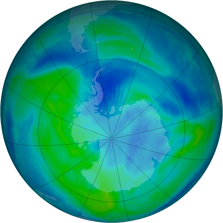 Antarctic ozone map for 31 March 2000