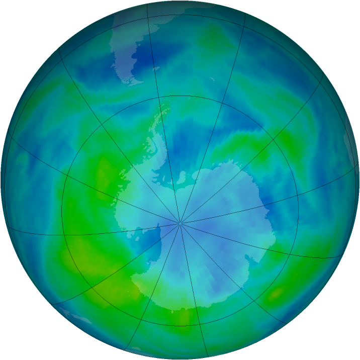 Antarctic ozone map for 02 April 2000