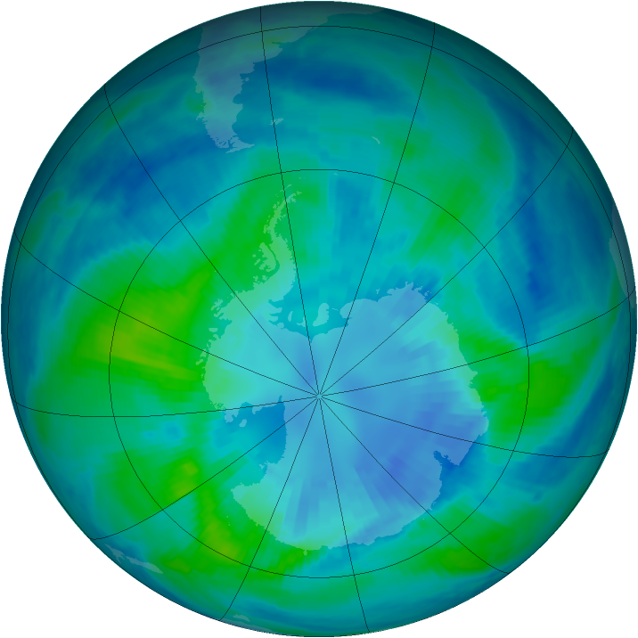 Antarctic ozone map for 04 April 2000