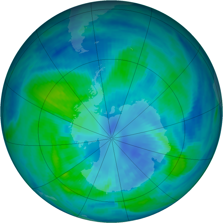 Antarctic ozone map for 05 April 2000