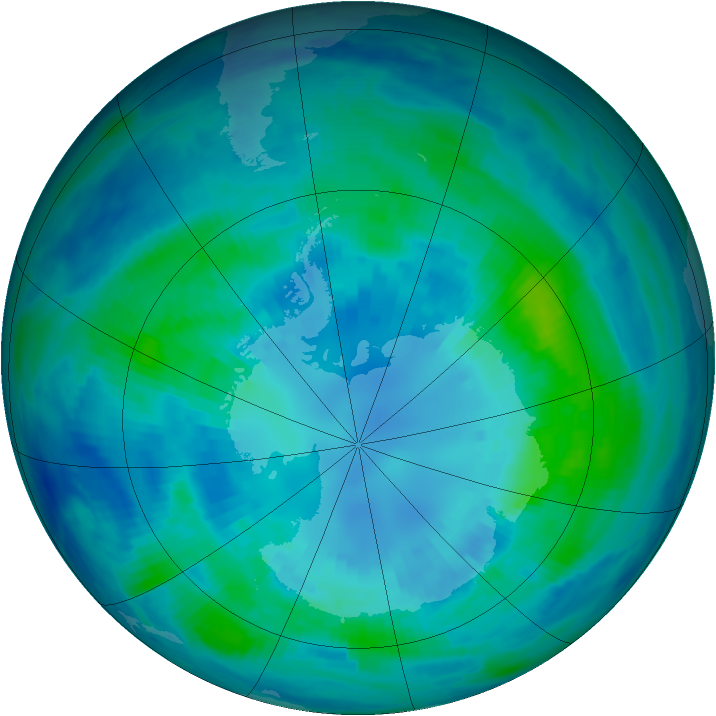 Antarctic ozone map for 10 April 2000