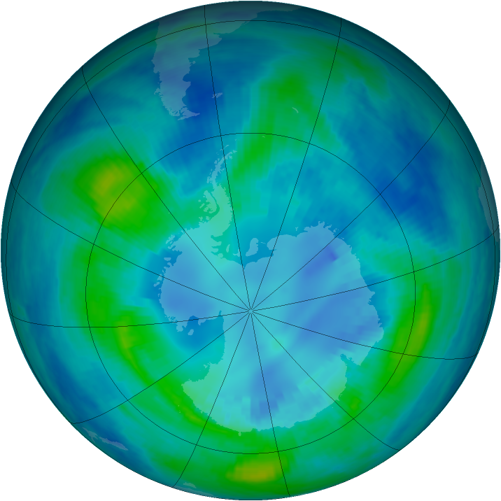 Antarctic ozone map for 17 April 2000