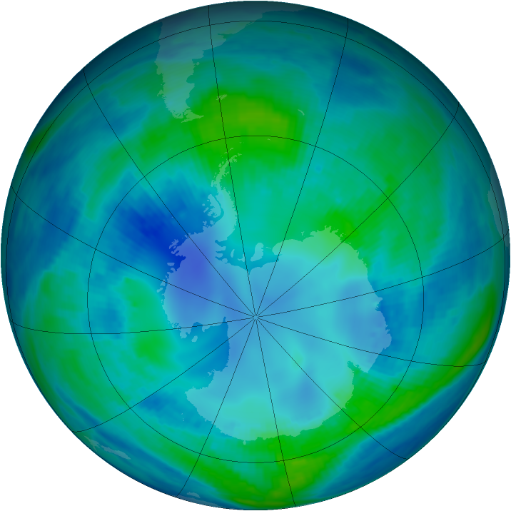 Antarctic ozone map for 29 April 2000