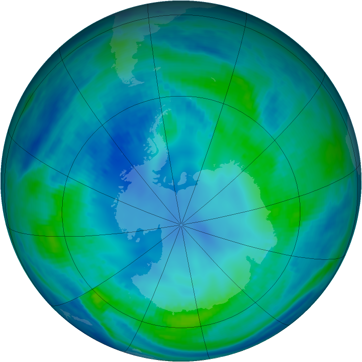 Antarctic ozone map for 01 May 2000