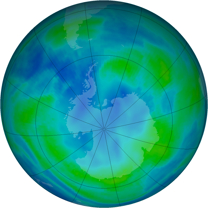 Antarctic ozone map for 02 May 2000