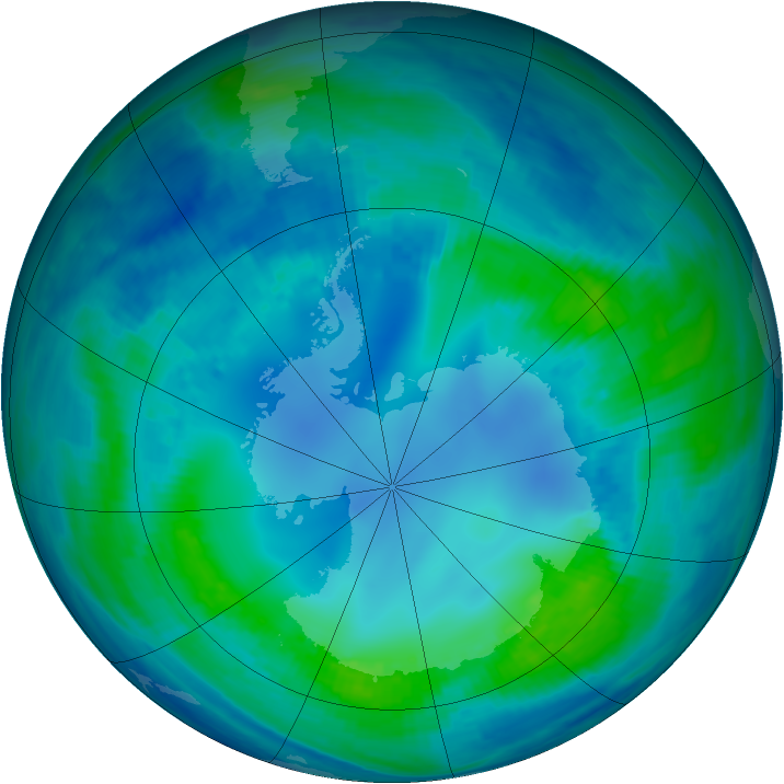 Antarctic ozone map for 03 May 2000