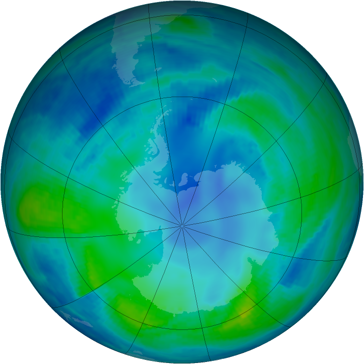Antarctic ozone map for 06 May 2000
