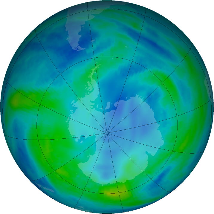 Antarctic ozone map for 07 May 2000