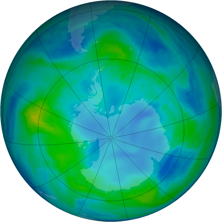 Antarctic ozone map for 09 May 2000