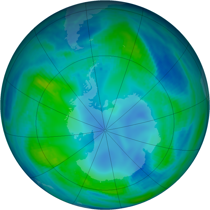 Antarctic ozone map for 10 May 2000