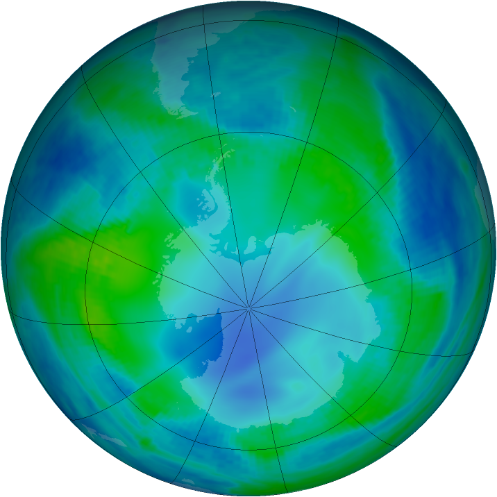 Antarctic ozone map for 12 May 2000