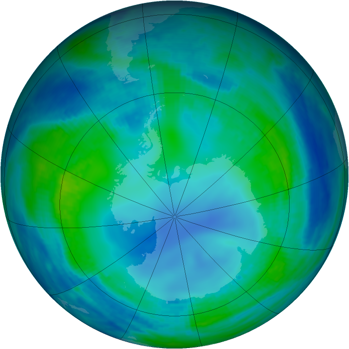 Antarctic ozone map for 13 May 2000