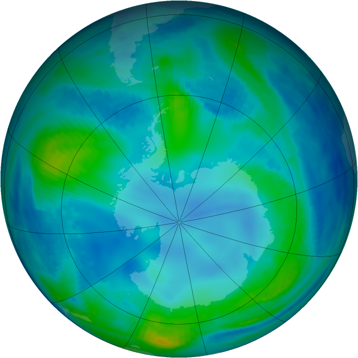 Antarctic ozone map for 16 May 2000