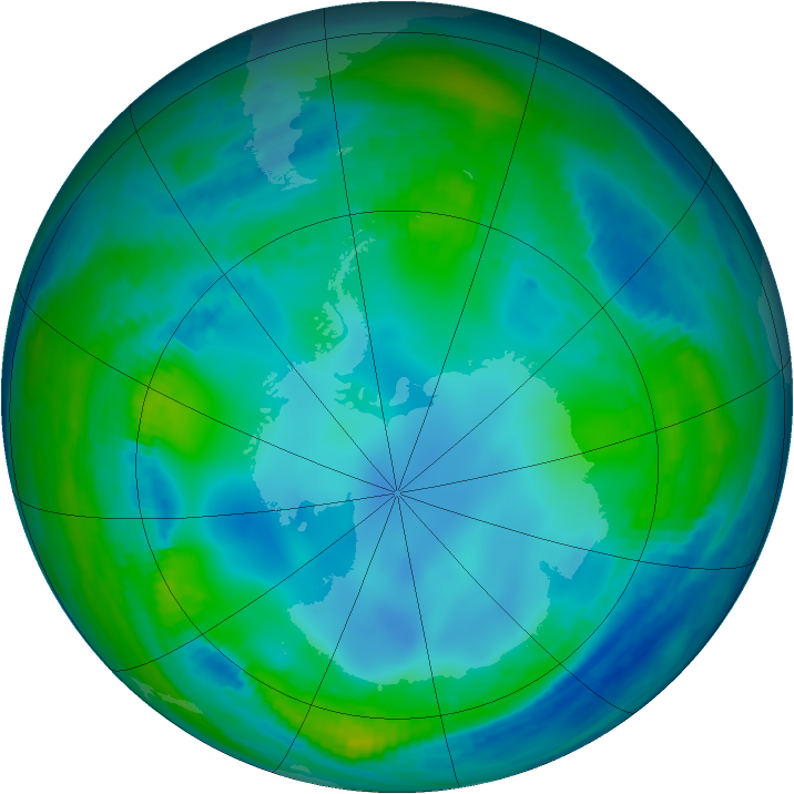 Antarctic ozone map for 23 May 2000