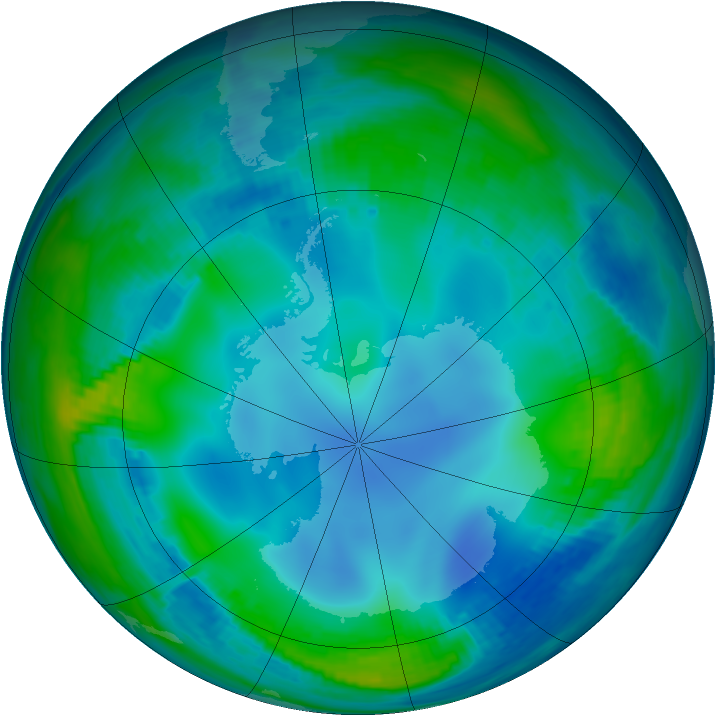 Antarctic ozone map for 24 May 2000