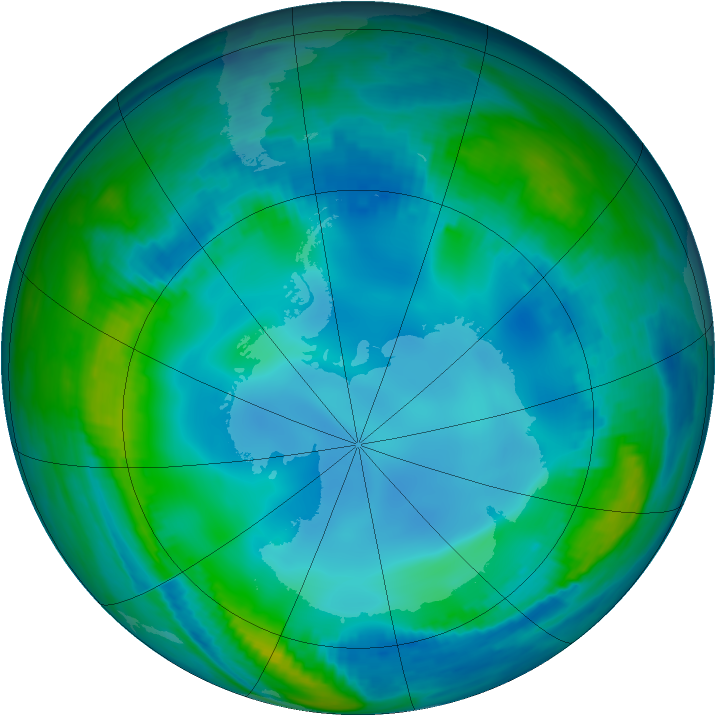 Antarctic ozone map for 26 May 2000