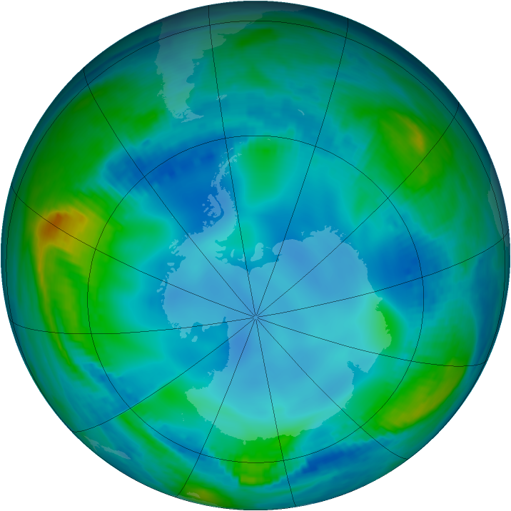 Antarctic ozone map for 27 May 2000