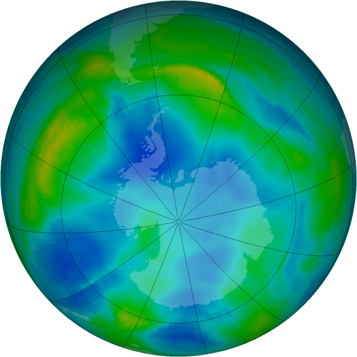 Antarctic ozone map for 30 May 2000