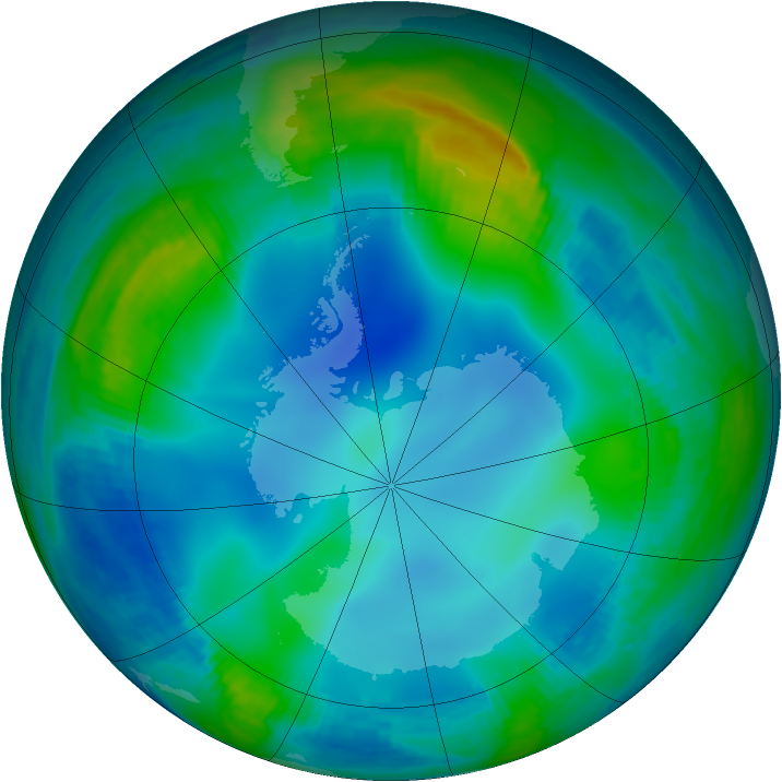 Antarctic ozone map for 31 May 2000