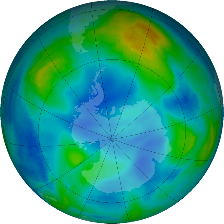 Antarctic ozone map for 01 June 2000