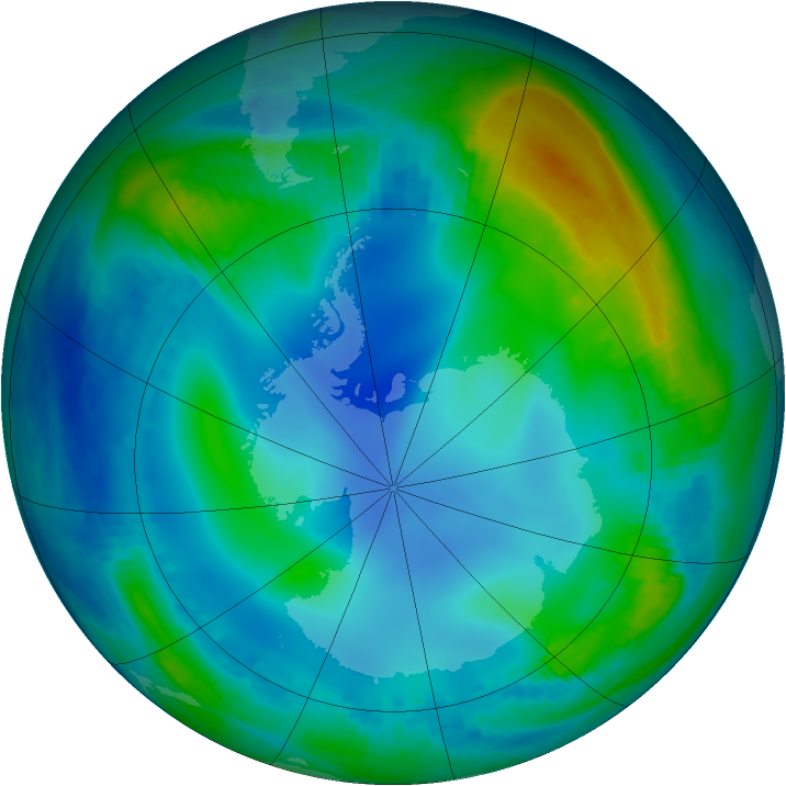 Antarctic ozone map for 03 June 2000