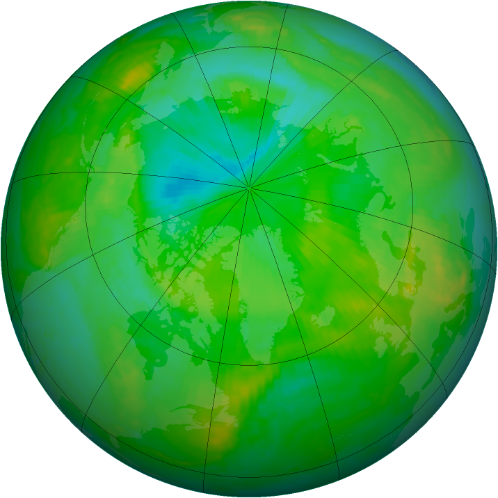 Arctic ozone map for 13 July 2000