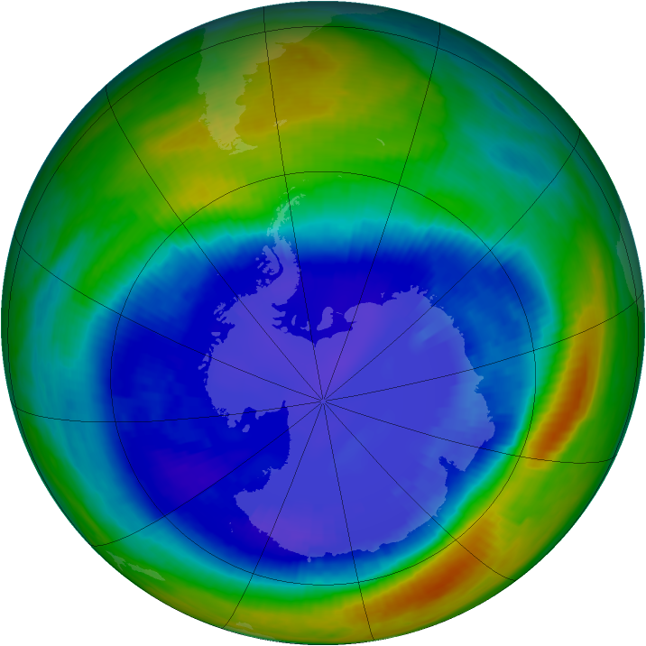 Antarctic ozone map for 29 August 2000