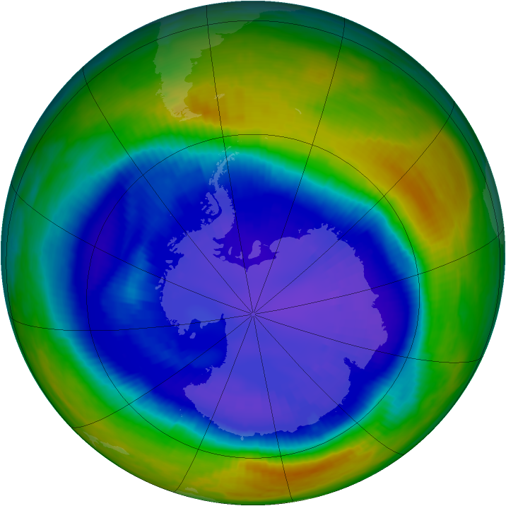 Antarctic ozone map for 02 September 2000